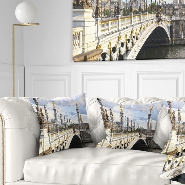 Designart 'Alexandre III Bridge Panoramic View' Photography Throw Pillow