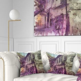 Designart 'Old City Street Watercolor Sketch' Cityscape Throw Pillow