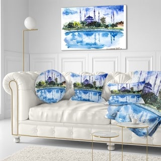Designart 'Istanbul Hand drawn Illustration' Cityscape Painting Throw Pillow (More options available)