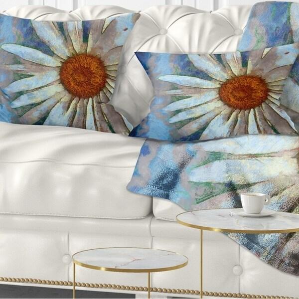 Designart 'Hand drawn White Chamomile Flower' Flower Throw Pillow