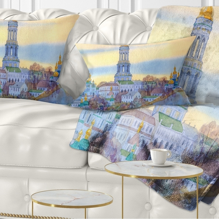 Designart Monastery On Steep Hill Cityscape Painting Throw Pillow On Sale Overstock 20949422