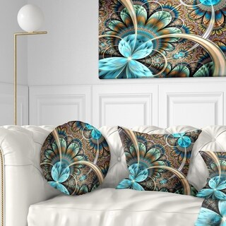 Designart 'Light Blue Fractal Flower' Floral Throw Pillow