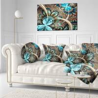 Designart 'Light Blue Fractal Flower' Floral Throw Pillow