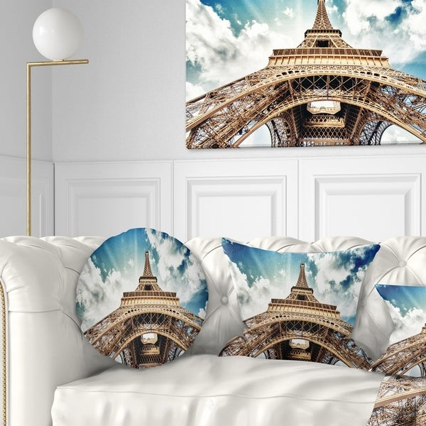 Designart 'Paris Eiffel Towerwith Fast Moving Clouds' Photography Throw Pillow