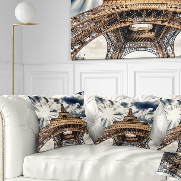 Designart 'Fisheye View of Paris Eiffel Tower' Cityscape Digital Throw Pillow