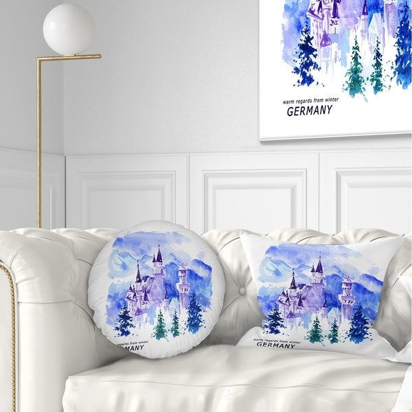 Designart 'Germany Watercolor Landscape' Cityscape Painting Throw Pillow