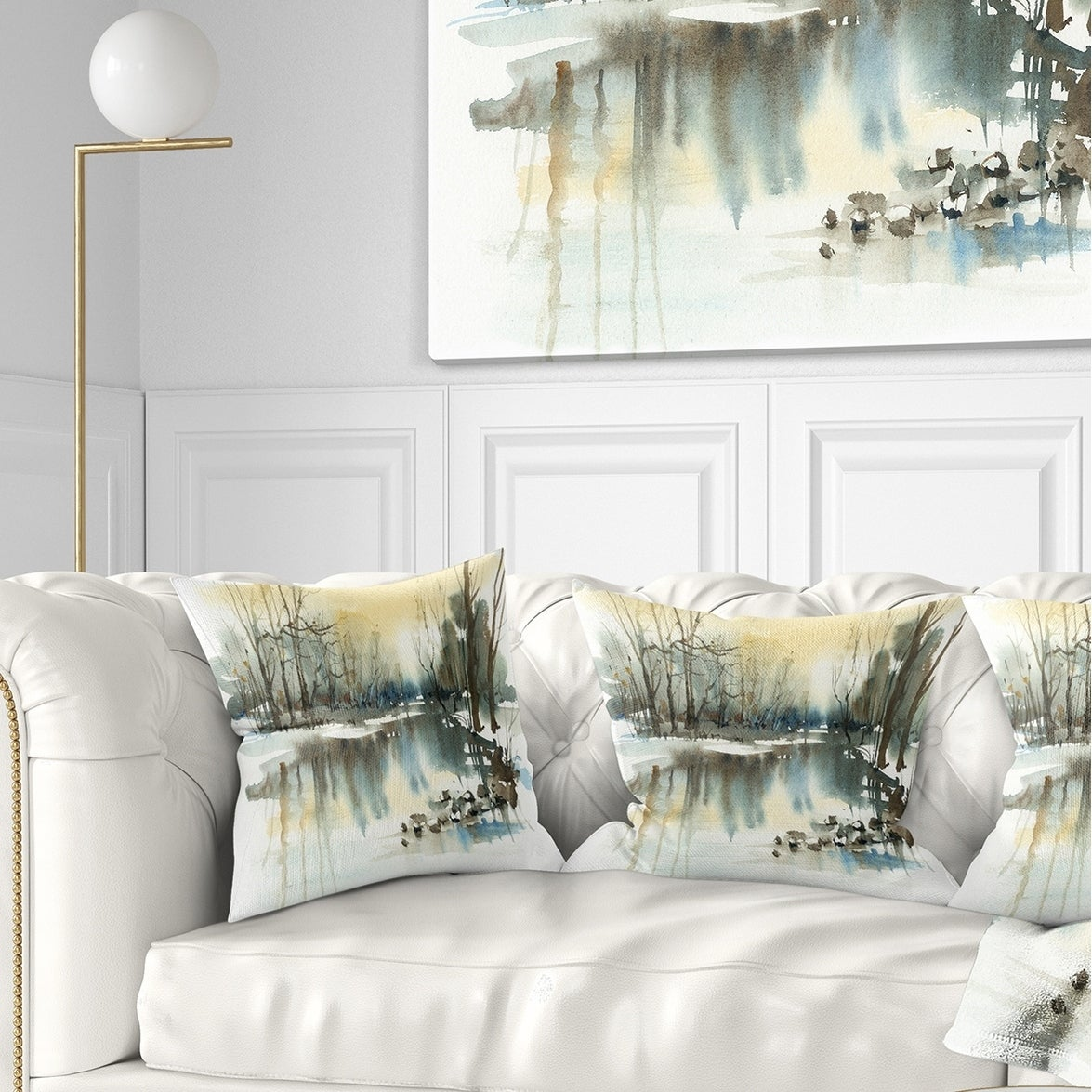 Designart River In Winter Landscape Painting Throw Pillow Overstock 20949498
