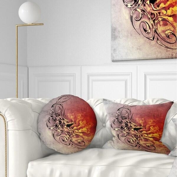 Designart 'Medieval Dragon Tattoo Sketch' Abstract Throw Pillow
