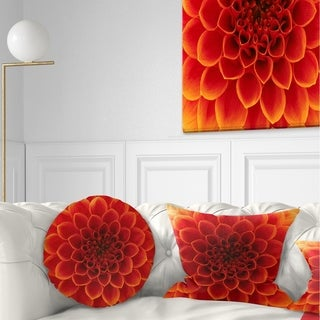 Designart 'Close Up Orange Flower Petals' Floral Throw Pillow