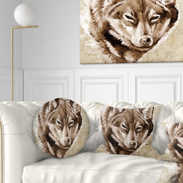Designart 'Wolf Head Tattoo Sketch' Abstract Throw Pillow
