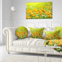 Designart 'Yellow Marigold Flowers' Floral Throw Pillow