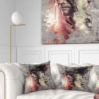 Designart 'Native American Indian Warrior' Abstract Portrait Throw Pillow