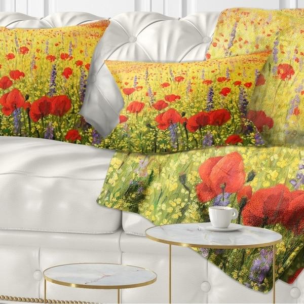 Designart 'Sea of Blossom' Landscape Printed Throw Pillow