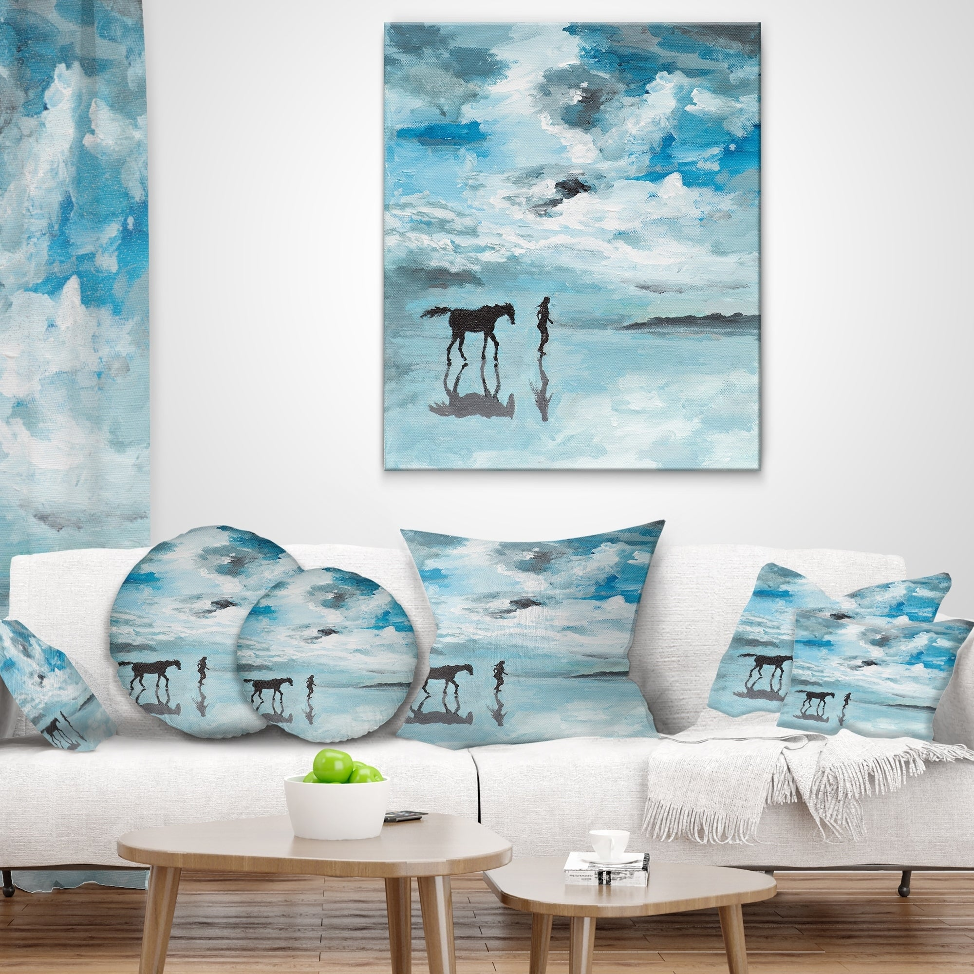 Designart Man And Horse Running On Water Seascape Throw Pillow On Sale Overstock 20949647