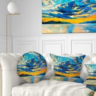 Designart 'Orange Sunset with Blue Sky' Modern Painting Throw Pillow