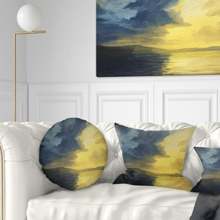 Designart 'Sunset of Light and Shadows' Landscape Painting Throw Pillow