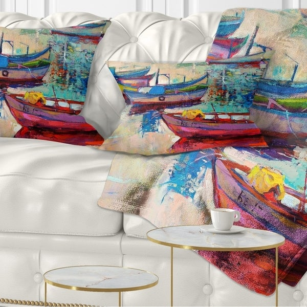 Designart 'Boats and Ocean' Seascape Throw Pillow