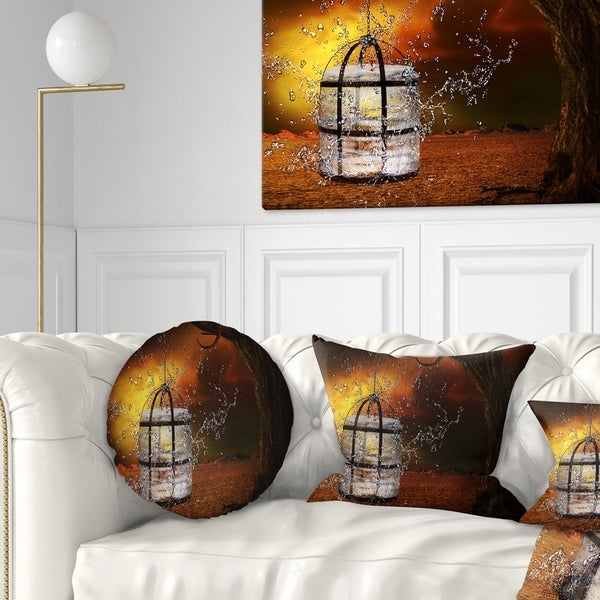 Designart 'Water Locked Cage' Abstract Throw Pillow
