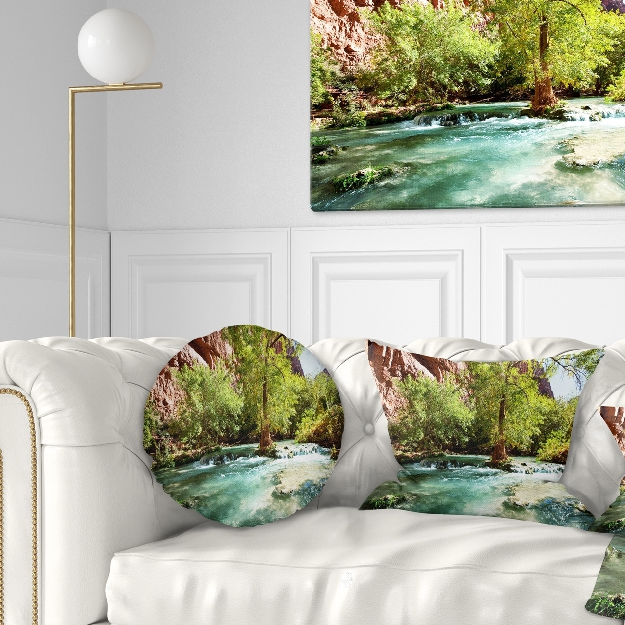 Designart Green Spring Creek In Mountains Landscape Wall Throw Pillow On Sale Overstock 20949732