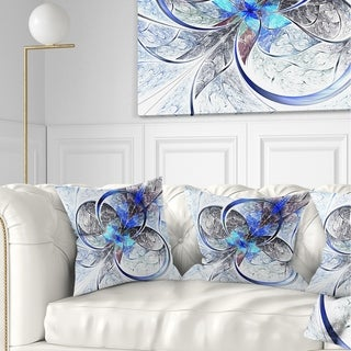 Designart 'Symmetrical Blue Fractal Flower' Abstract Throw Pillow