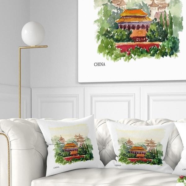 Designart 'China Vector Illustration' Cityscape Throw Pillow