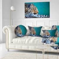 Designart 'Vigilant Leopard Close Up View' African Throw Pillow