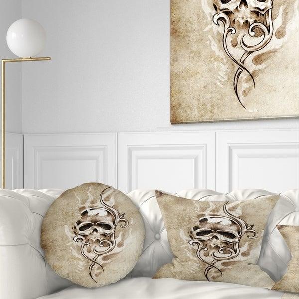 Designart 'Vintage Style Skull Devil Tattoo' Abstract Throw Pillow