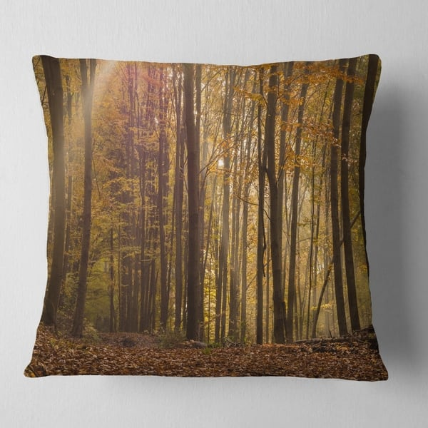 Shop Black Friday Deals On Designart Dense Forest In Rays Of Rising Sun Forest Throw Pillow On Sale Overstock 20949881
