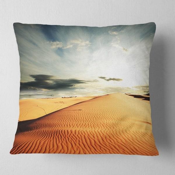 Designart Sahara Desert And Cloudy Sky Landscape Printed Throw Pillow On Sale Overstock 20949893