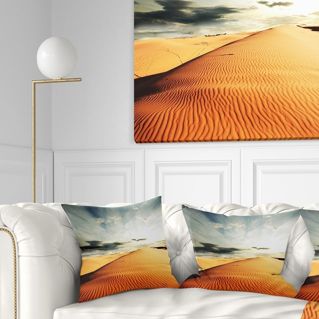 Designart Sahara Desert And Cloudy Sky Landscape Printed Throw Pillow On Sale Overstock 20949893