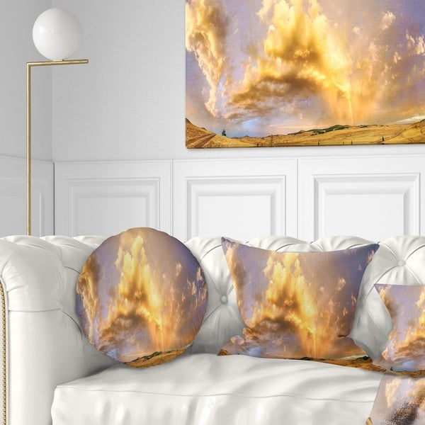 Designart Rainbow At Sunset After Storm Landscape Photo Circle Wall Art Overstock 14264032
