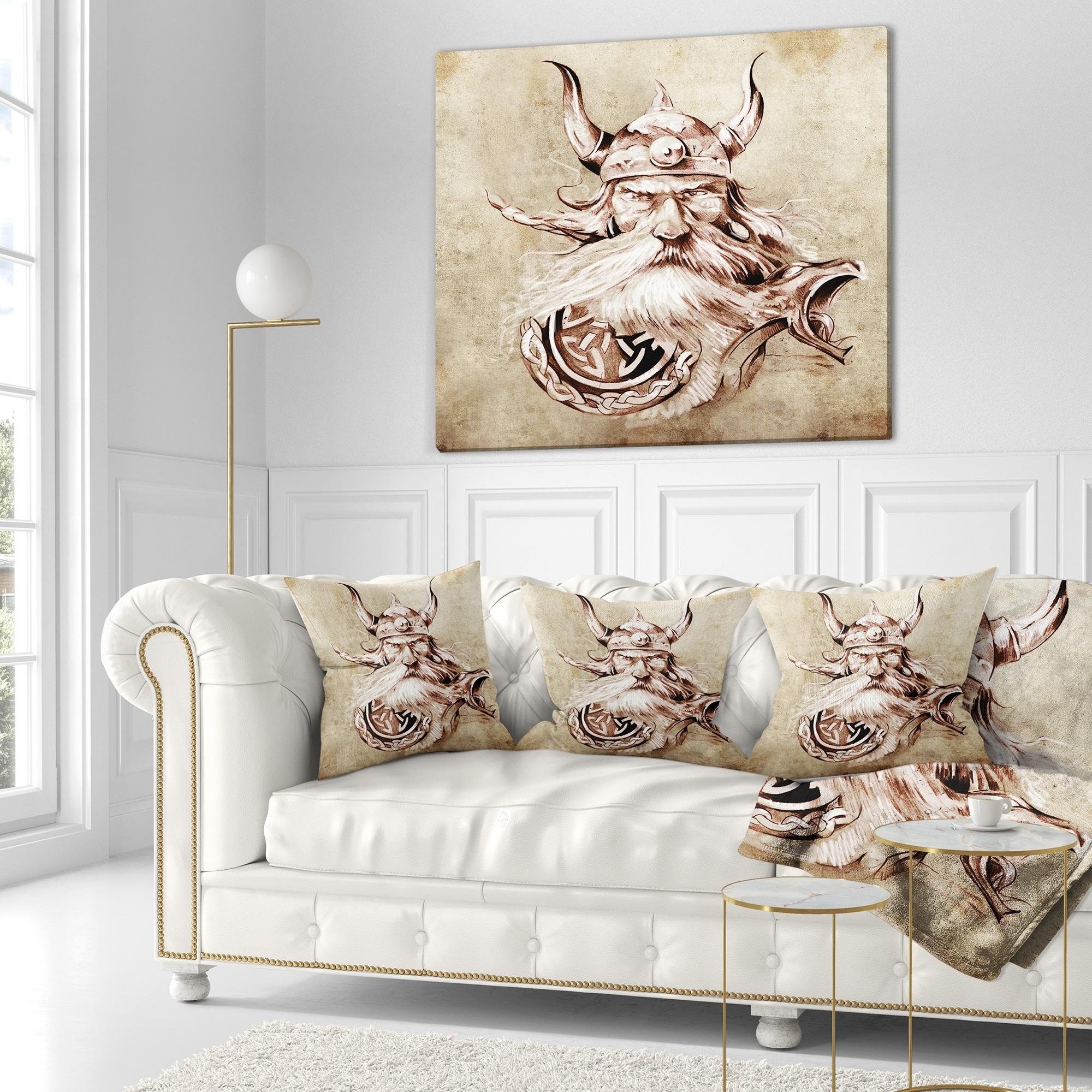 Designart Viking Warrior Tattoo Sketch Abstract Portrait Throw Pillow On Sale Overstock 20949972