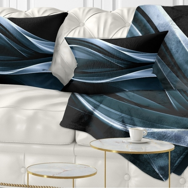 Designart 'Fractal Lines Blue in Black' Abstract Throw Pillow