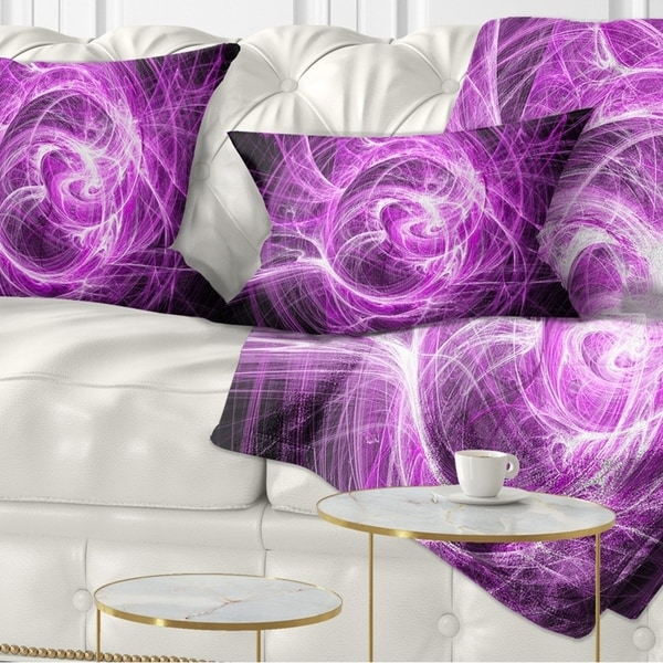 Designart 'Wisps of Smoke Purple in Black' Abstract Throw Pillow