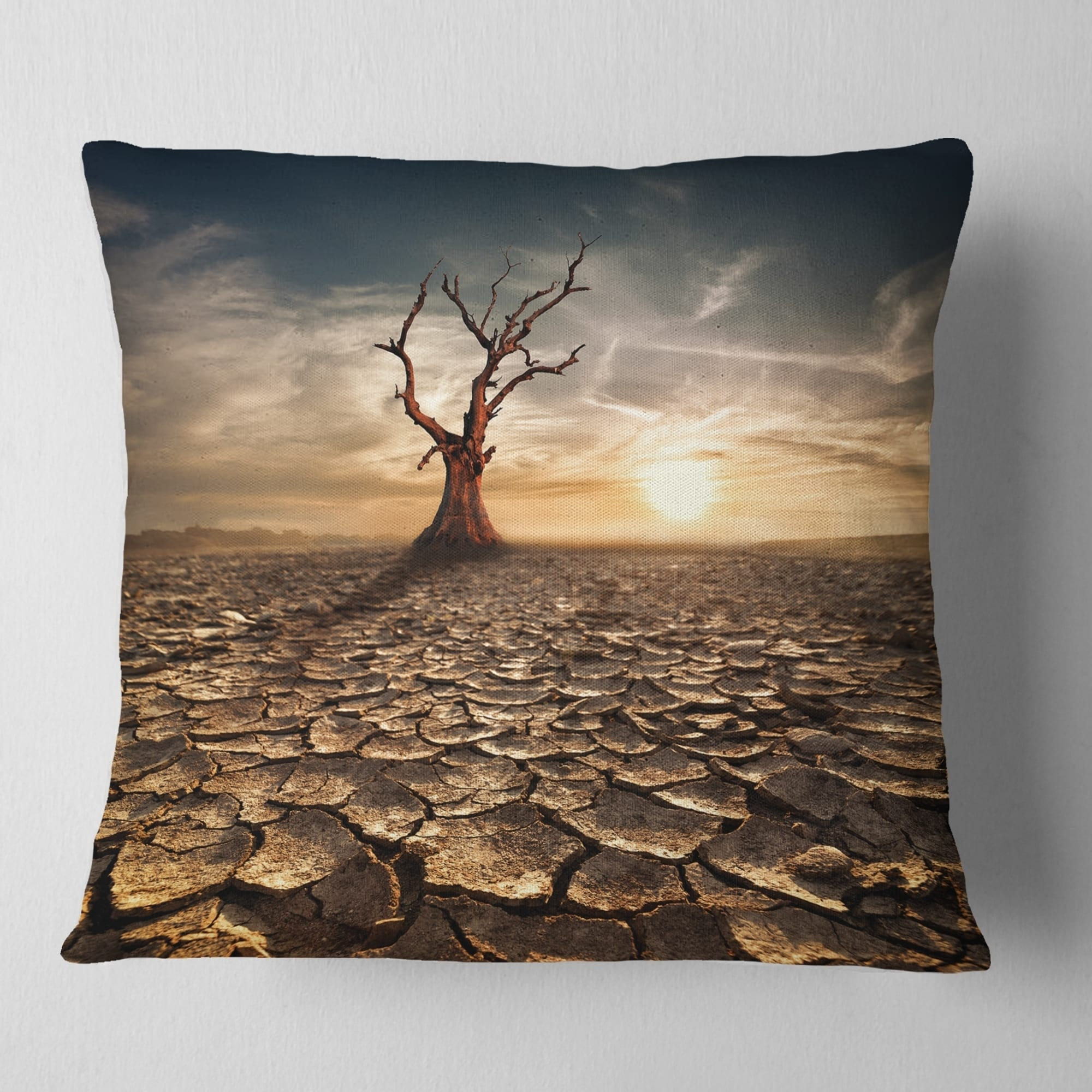 Designart Lonely Dead Tree In Cracked Land Landscape Printed Throw Pillow On Sale Overstock 20950075