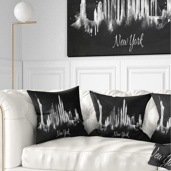 Designart 'New York Dark Silhouette' Cityscape Painting Throw Pillow