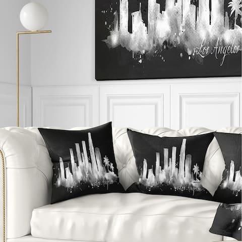 Designart 'Los Angeles Dark Silhouette' Cityscape Painting Throw Pillow