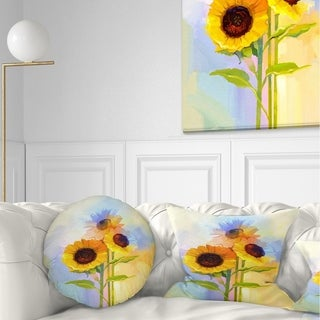 Designart 'Yellow Sunflowers with Green Leaves' Floral Throw Pillow