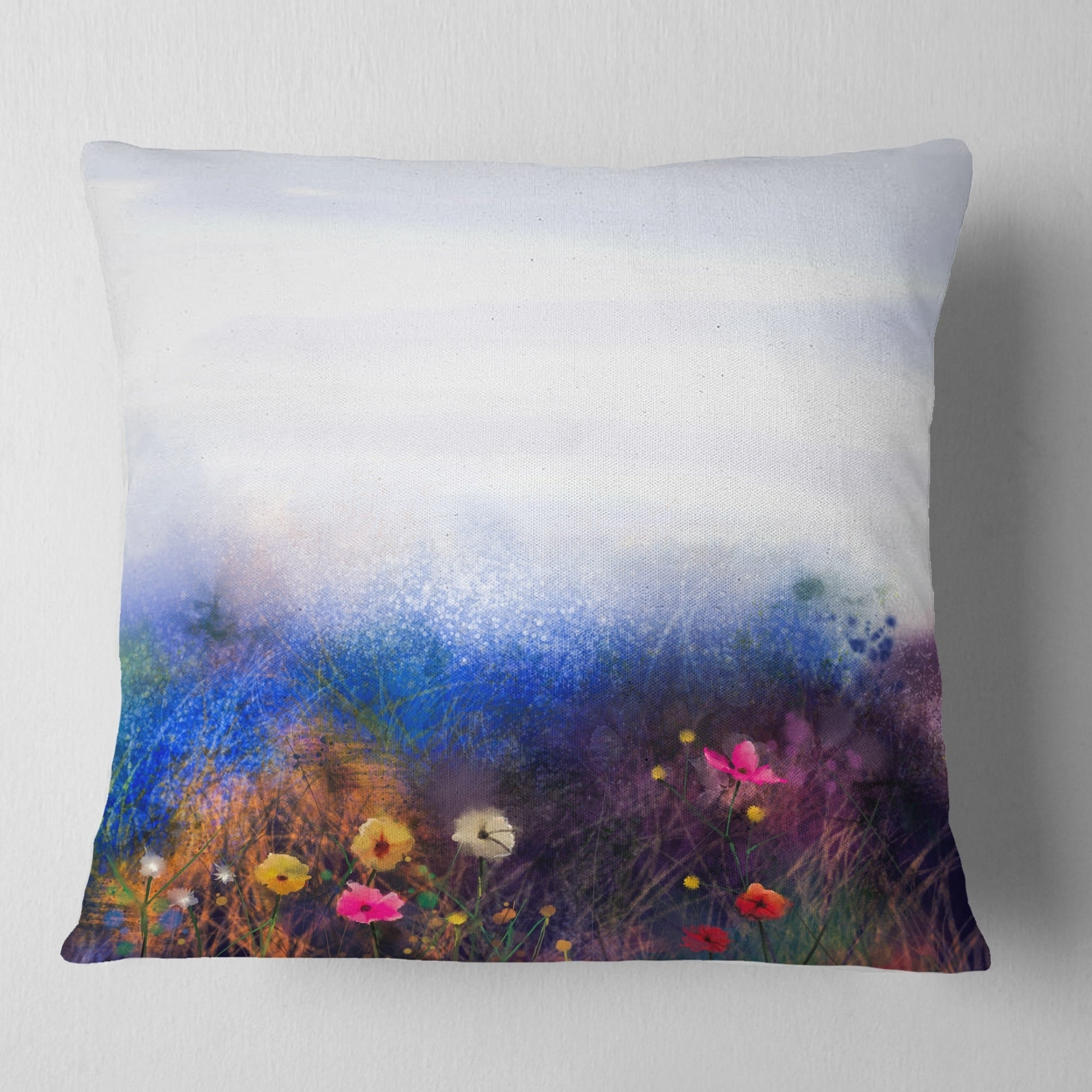 Designart Watercolor Painting Flower In Meadow Floral Throw Pillow On Sale Overstock 20950127