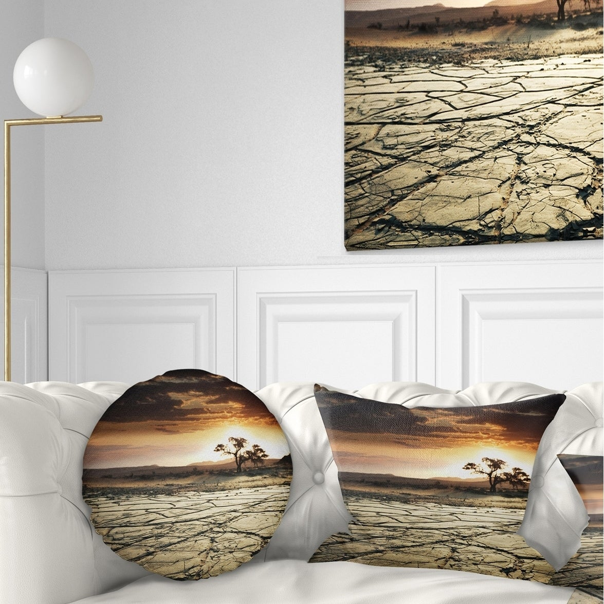 Designart Desert Gopi Cracked Drought Land African Landscape Printed Throw Pillow On Sale Overstock 20950136