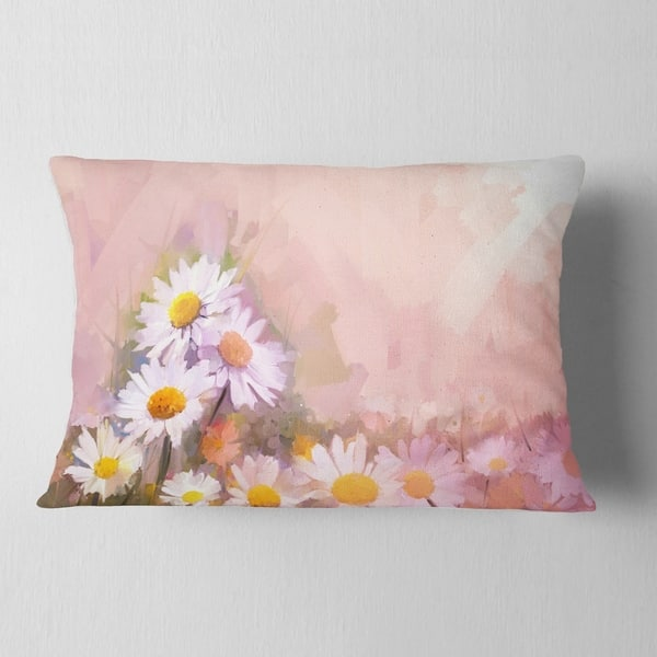 Designart Gerbera Flowers On Soft Color Back Floral Throw Pillow On Sale Overstock 20950163