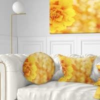 Designart 'Beautiful Floral Yellow Background' Floral Throw Pillow