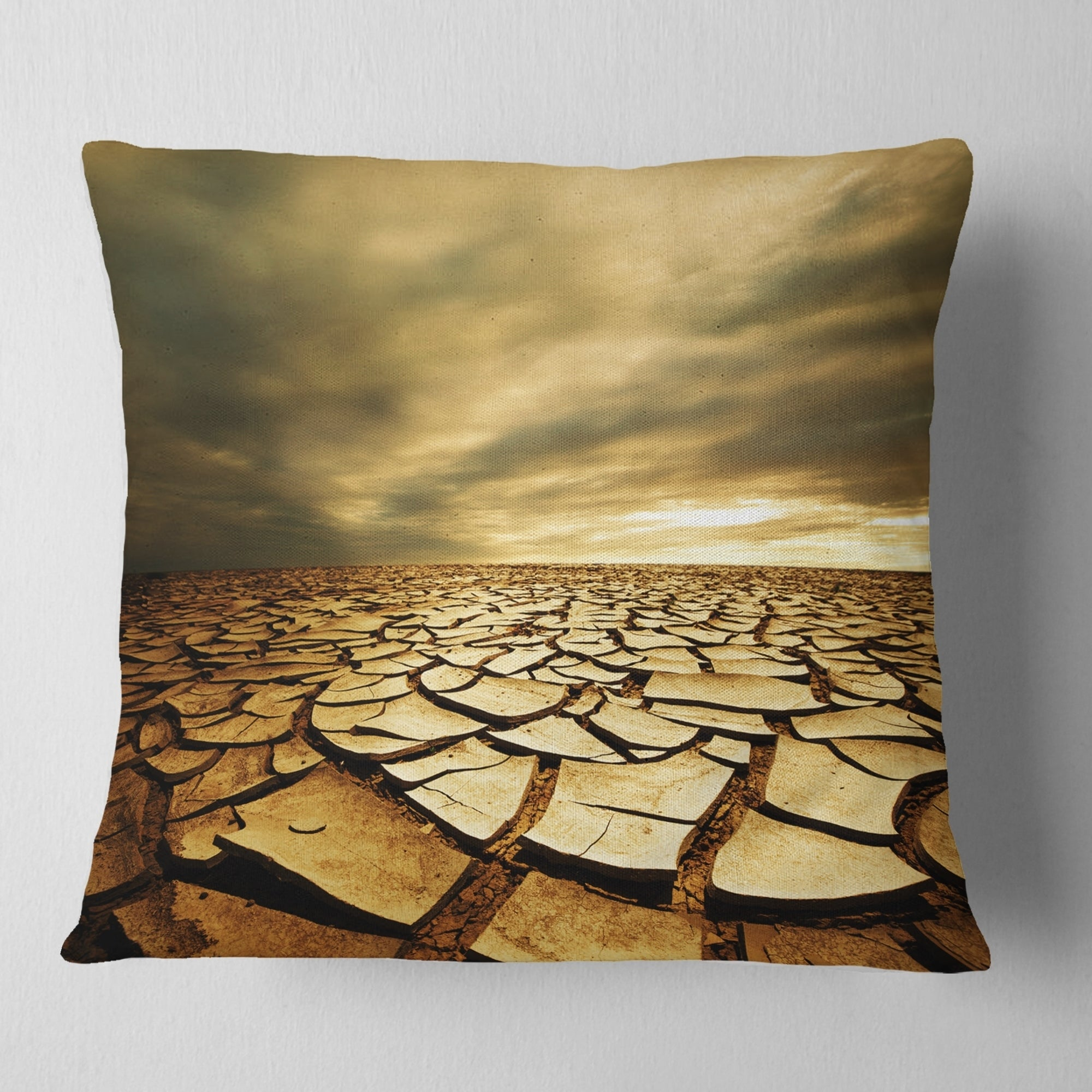 Designart Broken Drought Land With Dark Clouds African Landscape Printed Throw Pillow On Sale Overstock 20950220