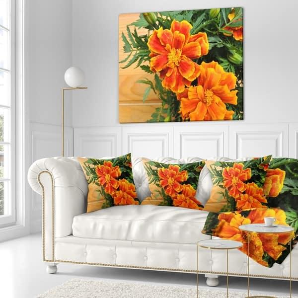 Designart Marigold Flower On Wooden Background Floral Throw Pillow On Sale Overstock 20950236