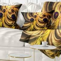 Designart 'Yellow Fractal Flames' Contemporary Throw Pillow