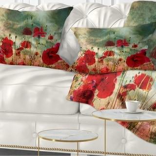 Designart 'Wild Red Poppy Flowers in Sky' Floral Throw Pillow