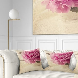Designart 'Peony Flowers in Vase on Table' Floral Throw Pillow