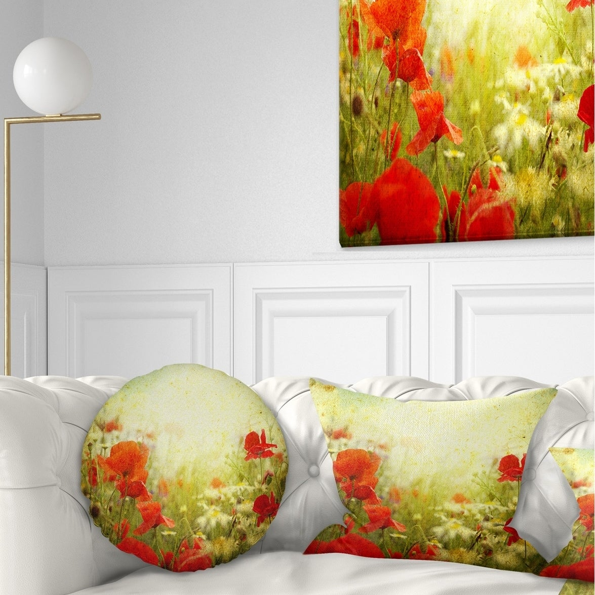Designart Grunge Background With Red Poppies Floral Throw Pillow On Sale Overstock 20950323