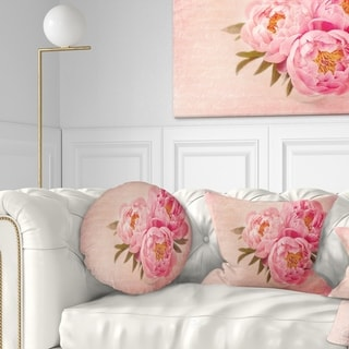 Designart 'Peony Flowers against Scribbled Back' Floral Throw Pillow