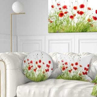Designart 'Poppies on White Background' Floral Throw Pillow